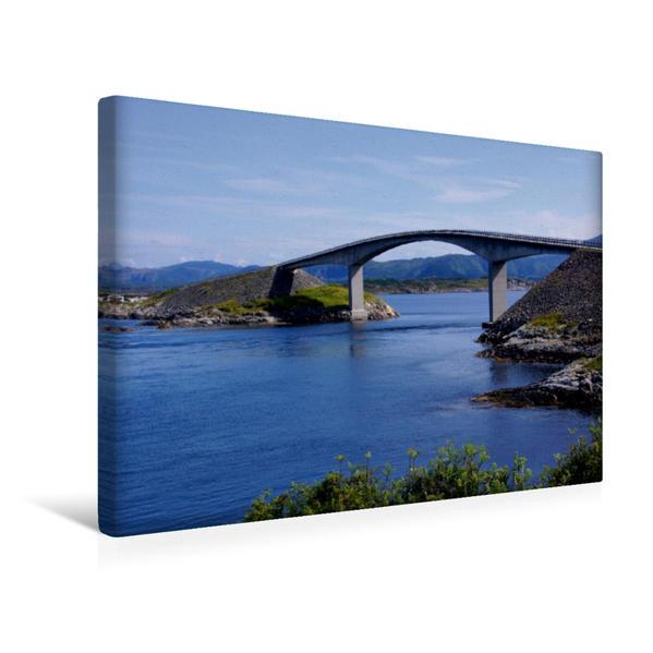 Premium Textil-Leinwand 45 cm x 30 cm quer, EIne der 8 Brücken auf der Atlantikstraße   Wandbild, Bild auf Keilrahmen, Fertigbild auf echter Leinwand, Leinwanddruck - Coverbild