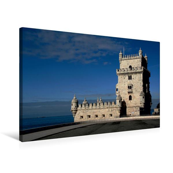 Premium Textil-Leinwand 75 cm x 50 cm quer, Torre de Belém in Lissabon   Wandbild, Bild auf Keilrahmen, Fertigbild auf echter Leinwand, Leinwanddruck - Coverbild