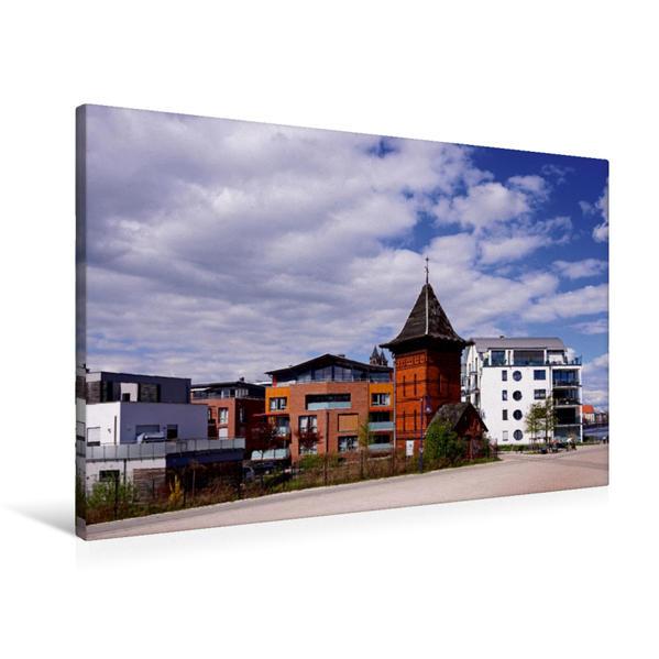 Premium Textil-Leinwand 90 cm x 60 cm quer, Neubauten an der Elbuferpromenade | Wandbild, Bild auf Keilrahmen, Fertigbild auf echter Leinwand, Leinwanddruck - Coverbild