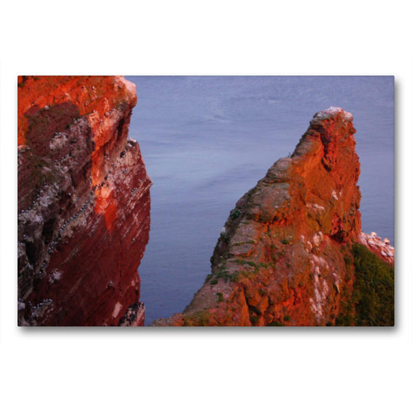 Premium Textil-Leinwand 90 cm x 60 cm quer, Felsen auf Helgoland im Abendrot | Wandbild, Bild auf Keilrahmen, Fertigbild auf echter Leinwand, Leinwanddruck - Coverbild