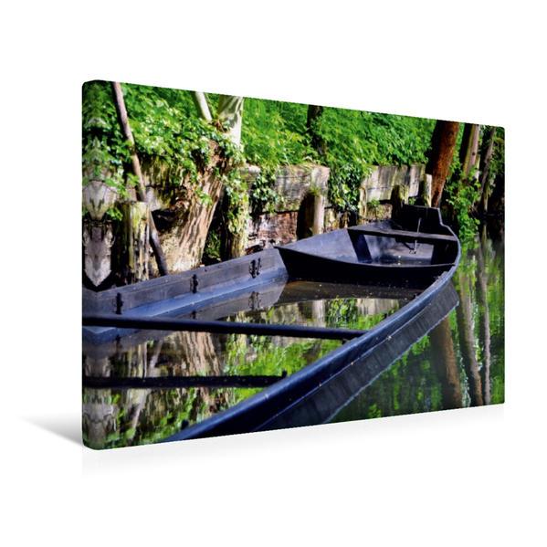 Premium Textil-Leinwand 45 cm x 30 cm quer, Spreewaldkahn   Wandbild, Bild auf Keilrahmen, Fertigbild auf echter Leinwand, Leinwanddruck - Coverbild
