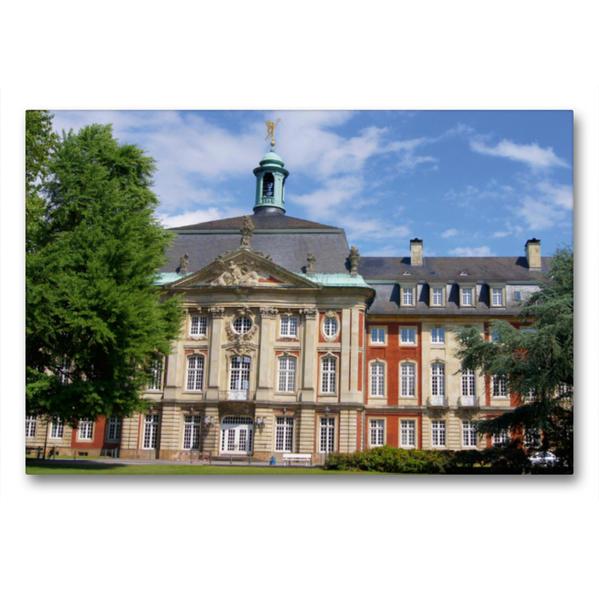 Premium Textil-Leinwand 90 cm x 60 cm quer, Schloss in Münster | Wandbild, Bild auf Keilrahmen, Fertigbild auf echter Leinwand, Leinwanddruck - Coverbild