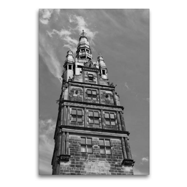 Premium Textil-Leinwand 60 cm x 90 cm hoch, Stadthausturm | Wandbild, Bild auf Keilrahmen, Fertigbild auf echter Leinwand, Leinwanddruck - Coverbild