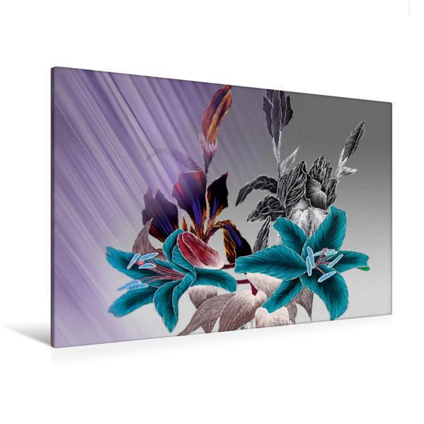 Premium Textil-Leinwand 120 cm x 80 cm quer, Lilien Iris Mix | Wandbild, Bild auf Keilrahmen, Fertigbild auf echter Leinwand, Leinwanddruck - Coverbild
