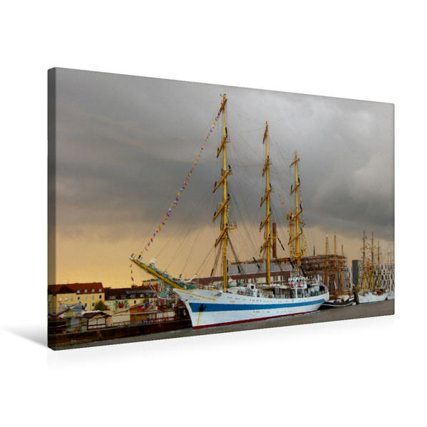 Premium Textil-Leinwand 75 cm x 50 cm quer, Vollschiff Mir | Wandbild, Bild auf Keilrahmen, Fertigbild auf echter Leinwand, Leinwanddruck - Coverbild