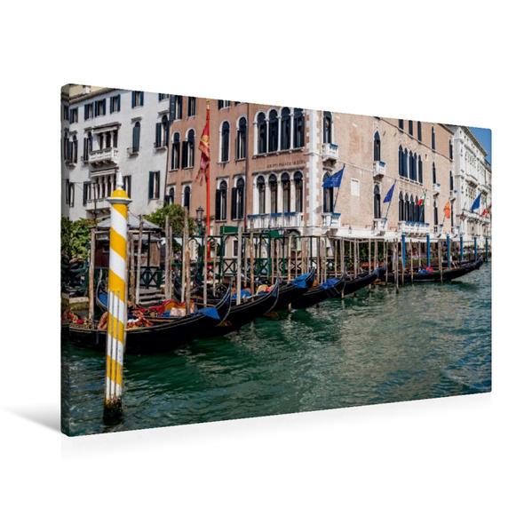 Premium Textil-Leinwand 90 cm x 60 cm quer, Gondelanlegestelle auf dem Canal Grande | Wandbild, Bild auf Keilrahmen, Fertigbild auf echter Leinwand, Leinwanddruck - Coverbild