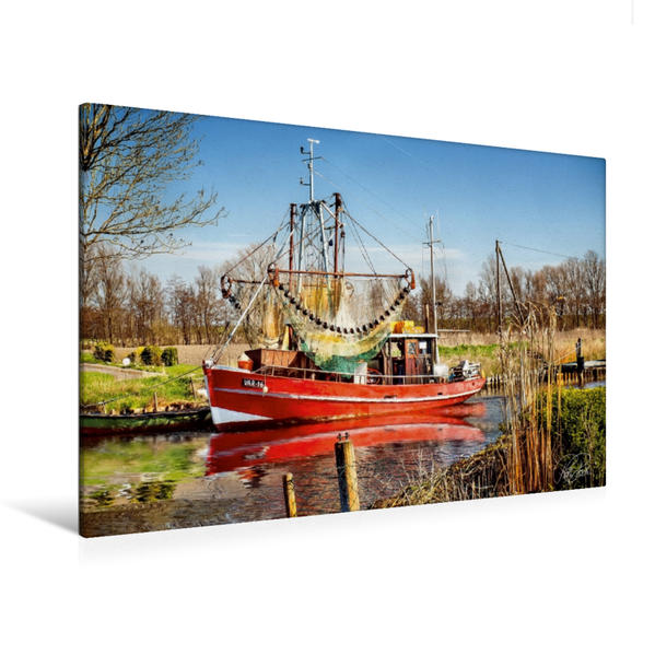 Premium Textil-Leinwand 120 cm x 80 cm quer, Friesland - Vareler Hafen | Wandbild, Bild auf Keilrahmen, Fertigbild auf echter Leinwand, Leinwanddruck - Coverbild