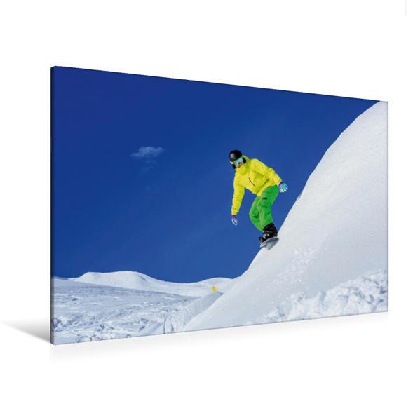 Premium Textil-Leinwand 120 cm x 80 cm quer, Snowboarder auf Arlberg in Lech | Wandbild, Bild auf Keilrahmen, Fertigbild auf echter Leinwand, Leinwanddruck - Coverbild