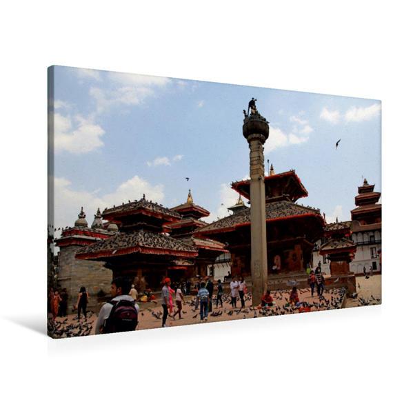 Premium Textil-Leinwand 90 cm x 60 cm quer, Durbar Square, Kathmandu   Wandbild, Bild auf Keilrahmen, Fertigbild auf echter Leinwand, Leinwanddruck - Coverbild
