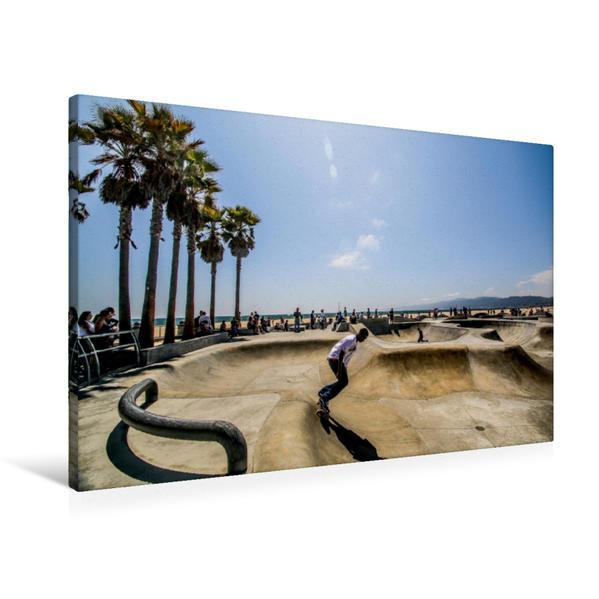 Premium Textil-Leinwand 90 cm x 60 cm quer, Skateboardpark Venice Beach   Wandbild, Bild auf Keilrahmen, Fertigbild auf echter Leinwand, Leinwanddruck - Coverbild