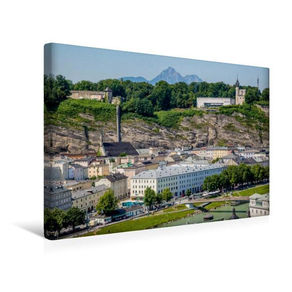 Premium Textil-Leinwand 45 cm x 30 cm quer, SALZBURG Blick auf den Mönchsberg | Wandbild, Bild auf Keilrahmen, Fertigbild auf echter Leinwand, Leinwanddruck - Coverbild