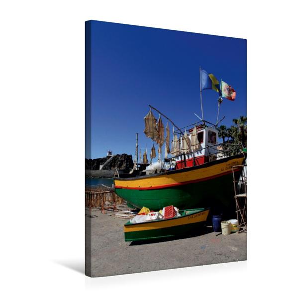Premium Textil-Leinwand 50 cm x 75 cm hoch, grosses und kleines Fischerboot | Wandbild, Bild auf Keilrahmen, Fertigbild auf echter Leinwand, Leinwanddruck - Coverbild