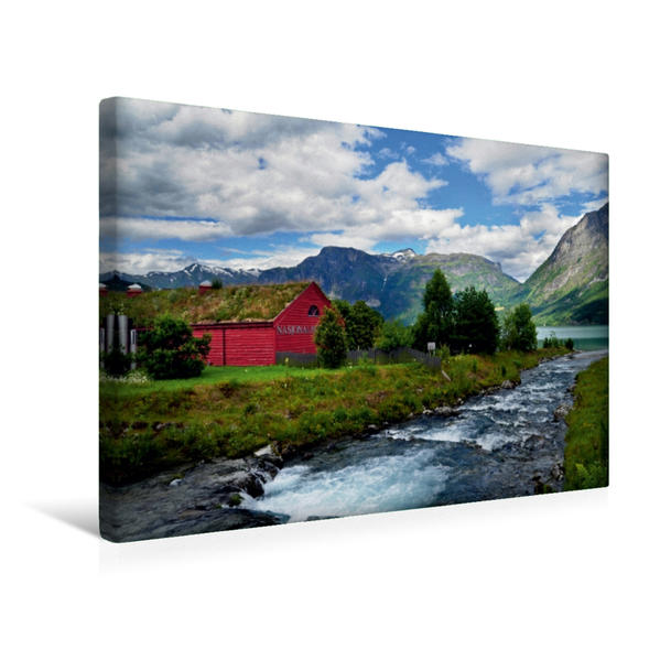 Premium Textil-Leinwand 45 cm x 30 cm quer, Jostedal / Norwegen | Wandbild, Bild auf Keilrahmen, Fertigbild auf echter Leinwand, Leinwanddruck - Coverbild