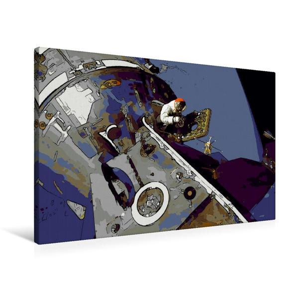 Premium Textil-Leinwand 90 cm x 60 cm quer, Mondlandung im Comic-Stil | Wandbild, Bild auf Keilrahmen, Fertigbild auf echter Leinwand, Leinwanddruck - Coverbild