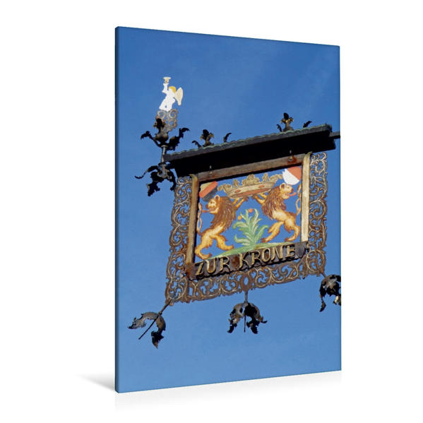 Premium Textil-Leinwand 80 cm x 120 cm  hoch, Gasthaus Krone in Rimbach / Odenald   Wandbild, Bild auf Keilrahmen, Fertigbild auf echter Leinwand, Leinwanddruck - Coverbild