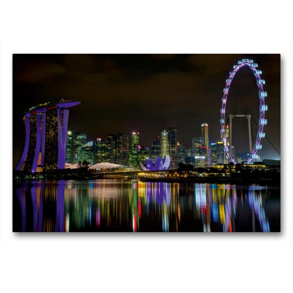 Premium Textil-Leinwand 90 cm x 60 cm quer, Die Einzigartige Singapur Skyline | Wandbild, Bild auf Keilrahmen, Fertigbild auf echter Leinwand, Leinwanddruck - Coverbild