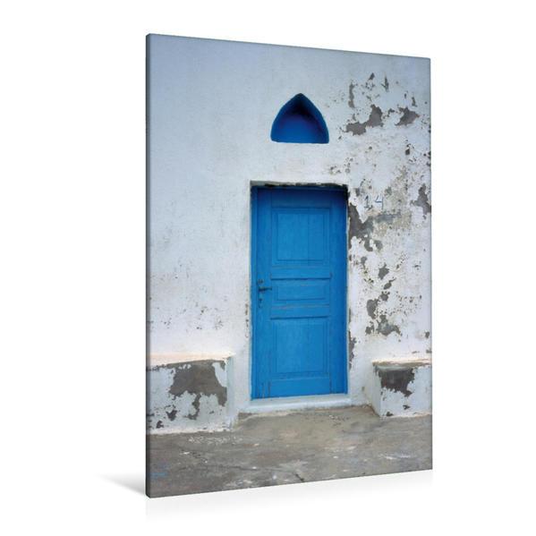 Premium Textil-Leinwand 80 cm x 120 cm  hoch, blaue Tür bei Elafonisi, Kreta, Griechenland, Europa | Wandbild, Bild auf Keilrahmen, Fertigbild auf echter Leinwand, Leinwanddruck - Coverbild