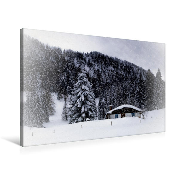 Premium Textil-Leinwand 75 cm x 50 cm quer, Wintermärchen HEMMERSUPPENALM VIII (weiß) | Wandbild, Bild auf Keilrahmen, Fertigbild auf echter Leinwand, Leinwanddruck - Coverbild