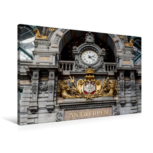 Premium Textil-Leinwand 90 cm x 60 cm quer, Der Bahnhof von Antwerpen.   Wandbild, Bild auf Keilrahmen, Fertigbild auf echter Leinwand, Leinwanddruck - Coverbild