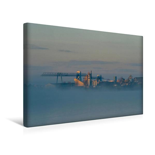 Premium Textil-Leinwand 45 cm x 30 cm quer, Luitpoldhafen im Morgennebel | Wandbild, Bild auf Keilrahmen, Fertigbild auf echter Leinwand, Leinwanddruck - Coverbild