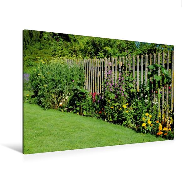 Premium Textil-Leinwand 120 cm x 80 cm quer, Blumen am Gartenzaun | Wandbild, Bild auf Keilrahmen, Fertigbild auf echter Leinwand, Leinwanddruck - Coverbild