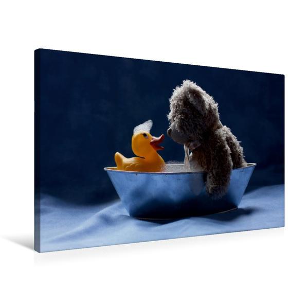 Premium Textil-Leinwand 75 cm x 50 cm quer, Der Badebär | Wandbild, Bild auf Keilrahmen, Fertigbild auf echter Leinwand, Leinwanddruck - Coverbild