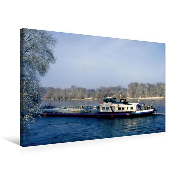 Premium Textil-Leinwand 75 cm x 50 cm quer, Donau in Bayern mit Schiff   Wandbild, Bild auf Keilrahmen, Fertigbild auf echter Leinwand, Leinwanddruck - Coverbild