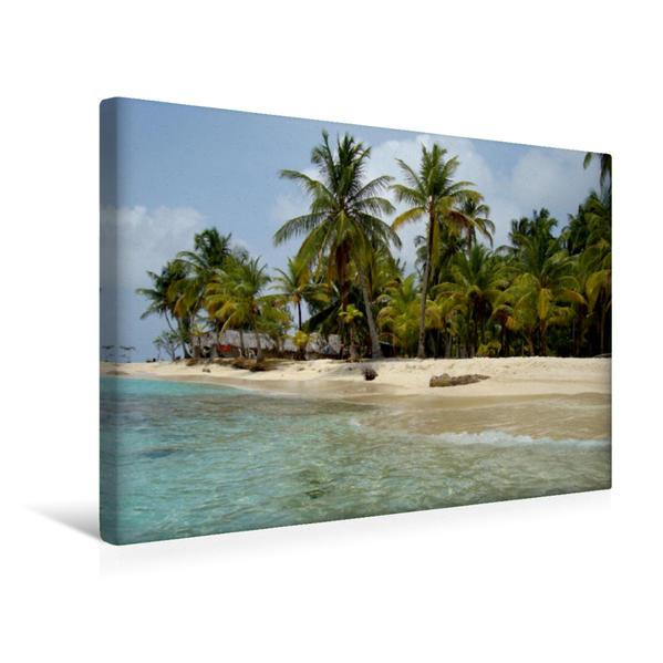 Premium Textil-Leinwand 45 cm x 30 cm quer, Sandstrand mit Palmen   Wandbild, Bild auf Keilrahmen, Fertigbild auf echter Leinwand, Leinwanddruck - Coverbild