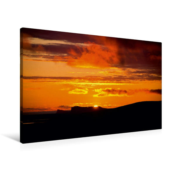 Premium Textil-Leinwand 90 cm x 60 cm quer, Sonnenuntergang auf Island | Wandbild, Bild auf Keilrahmen, Fertigbild auf echter Leinwand, Leinwanddruck - Coverbild