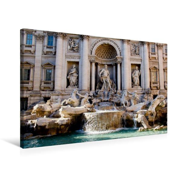 Premium Textil-Leinwand 75 cm x 50 cm quer, Fontana di Trevi | Wandbild, Bild auf Keilrahmen, Fertigbild auf echter Leinwand, Leinwanddruck - Coverbild