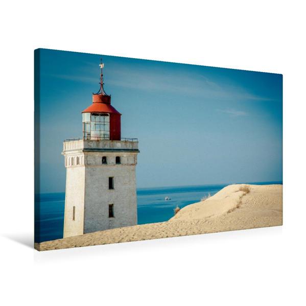 Premium Textil-Leinwand 75 cm x 50 cm quer, Leuchtturm in Dänemark | Wandbild, Bild auf Keilrahmen, Fertigbild auf echter Leinwand, Leinwanddruck - Coverbild