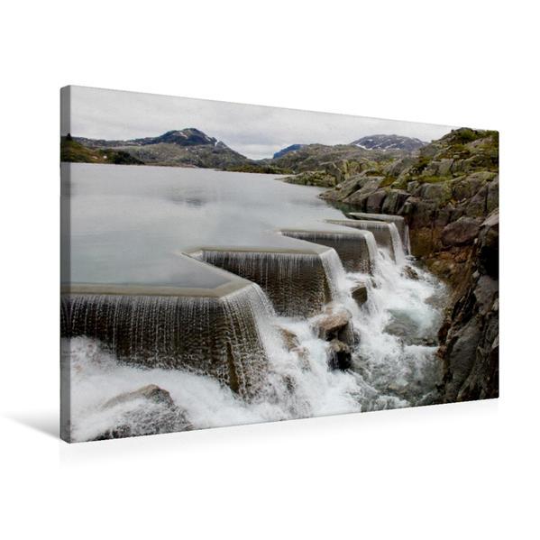 Premium Textil-Leinwand 75 cm x 50 cm quer, Staudamm in Norwegen | Wandbild, Bild auf Keilrahmen, Fertigbild auf echter Leinwand, Leinwanddruck - Coverbild