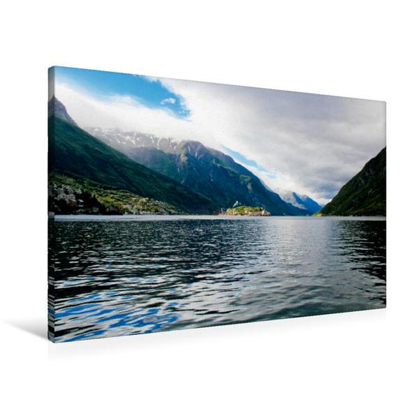 Premium Textil-Leinwand 90 cm x 60 cm quer, Am Fjord in Norwegen | Wandbild, Bild auf Keilrahmen, Fertigbild auf echter Leinwand, Leinwanddruck - Coverbild