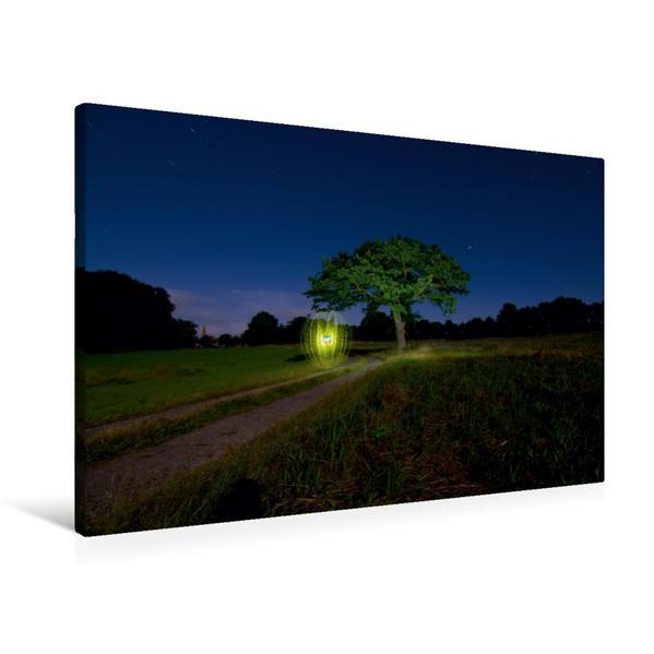 Premium Textil-Leinwand 90 cm x 60 cm quer, Ein Motiv aus dem Kalender Bewegtes Licht - Light Art und Light Painting   Wandbild, Bild auf Keilrahmen, Fertigbild auf echter Leinwand, Leinwanddruck - Coverbild