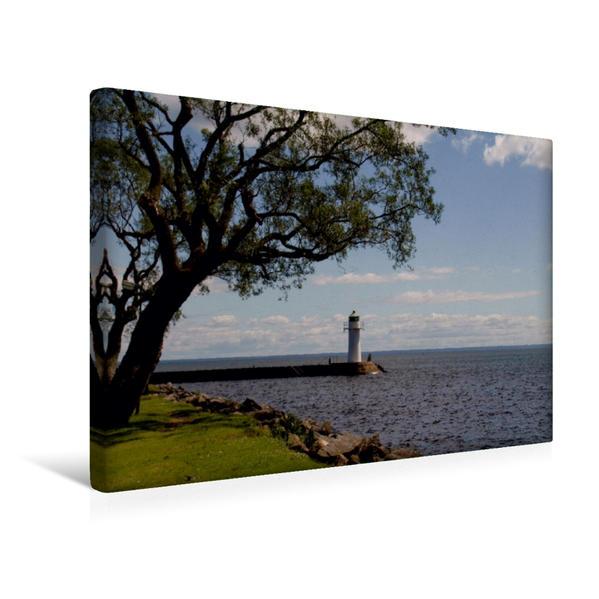 Premium Textil-Leinwand 45 cm x 30 cm quer, Hafen in Hjo | Wandbild, Bild auf Keilrahmen, Fertigbild auf echter Leinwand, Leinwanddruck - Coverbild