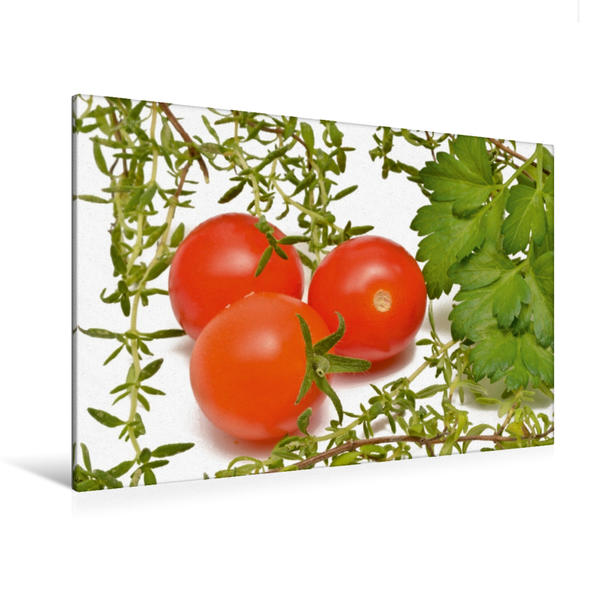 Premium Textil-Leinwand 120 cm x 80 cm quer, Tomate, Petersilie und Thymian | Wandbild, Bild auf Keilrahmen, Fertigbild auf echter Leinwand, Leinwanddruck - Coverbild
