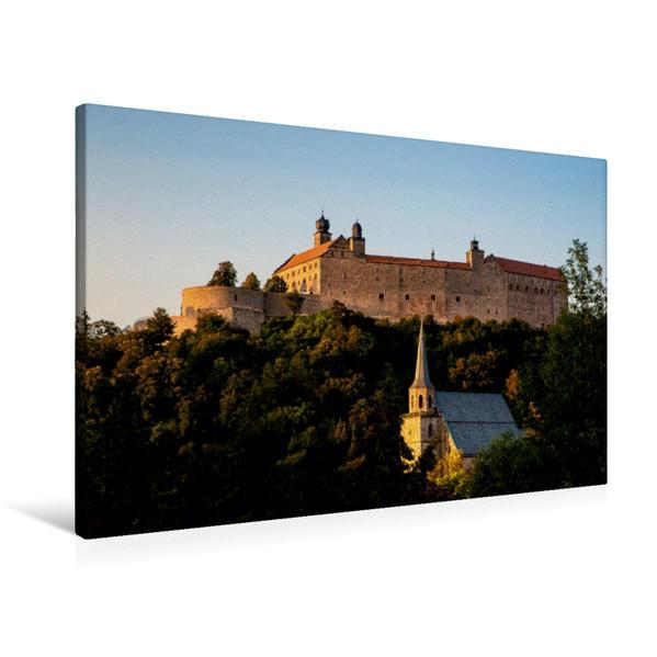 Premium Textil-Leinwand 90 cm x 60 cm quer, Petrikirche und Plassenburg im Abendlicht   Wandbild, Bild auf Keilrahmen, Fertigbild auf echter Leinwand, Leinwanddruck - Coverbild