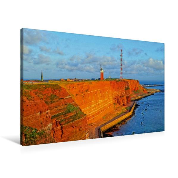 Premium Textil-Leinwand 90 cm x 60 cm quer, Helgoland im Abendlicht | Wandbild, Bild auf Keilrahmen, Fertigbild auf echter Leinwand, Leinwanddruck - Coverbild