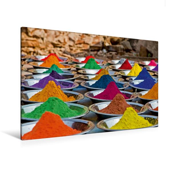 Premium Textil-Leinwand 120 cm x 80 cm quer, Marktstand mit Farbpulvern - Indien | Wandbild, Bild auf Keilrahmen, Fertigbild auf echter Leinwand, Leinwanddruck - Coverbild