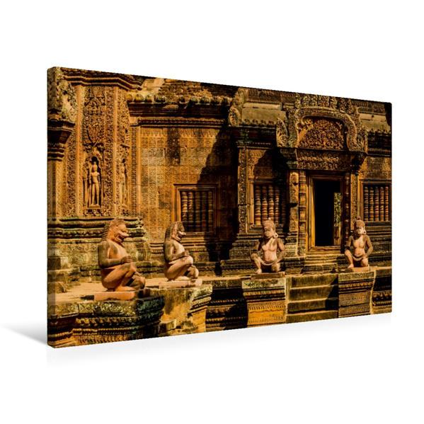 Premium Textil-Leinwand 75 cm x 50 cm quer, Banteay Srey   Wandbild, Bild auf Keilrahmen, Fertigbild auf echter Leinwand, Leinwanddruck - Coverbild
