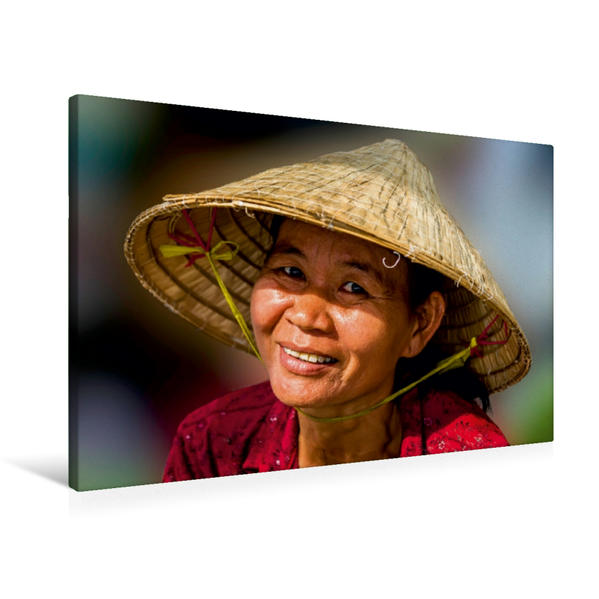 Premium Textil-Leinwand 90 cm x 60 cm quer, Marktfrau | Wandbild, Bild auf Keilrahmen, Fertigbild auf echter Leinwand, Leinwanddruck - Coverbild