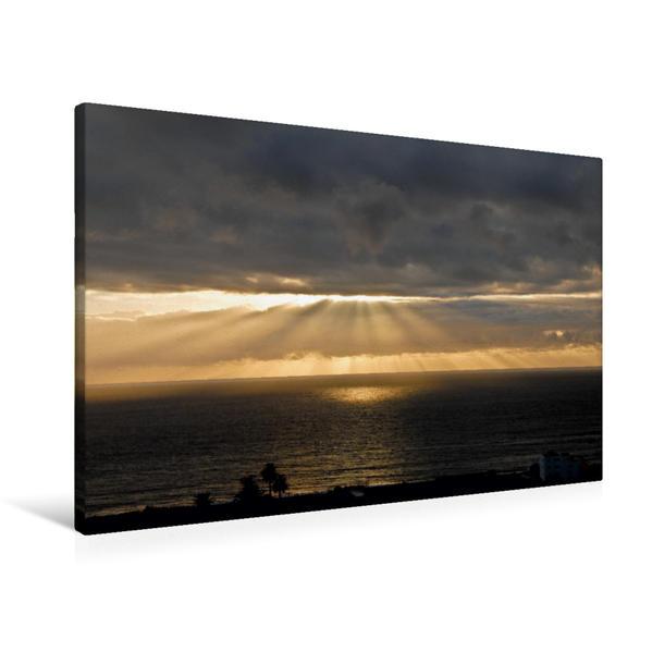 Premium Textil-Leinwand 90 cm x 60 cm quer, Ein Motiv aus dem Kalender Der Tag klingt aus - Sonnenuntergang im Valle Gran Rey - La Gomera | Wandbild, Bild auf Keilrahmen, Fertigbild auf echter Leinwand, Leinwanddruck - Coverbild