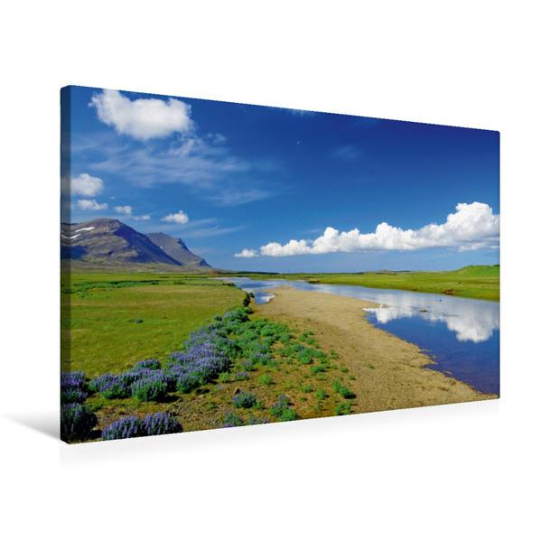 Premium Textil-Leinwand 75 cm x 50 cm quer, Stille Flußlandschaft im Westen von Island | Wandbild, Bild auf Keilrahmen, Fertigbild auf echter Leinwand, Leinwanddruck - Coverbild