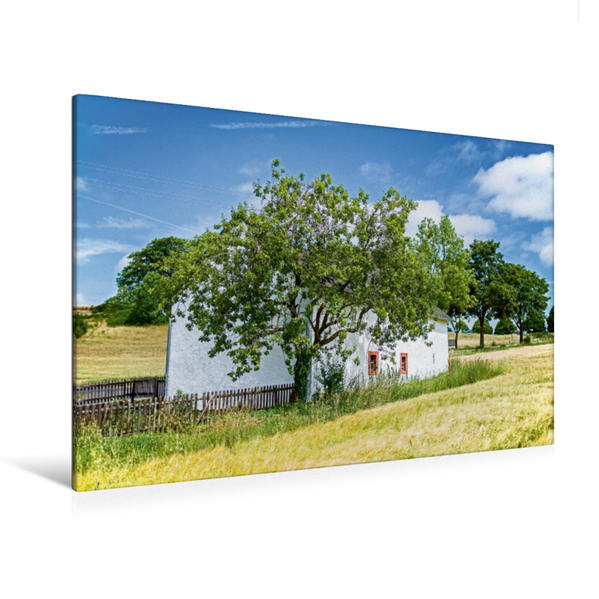 Premium Textil-Leinwand 120 cm x 80 cm quer, Kapelle am Wegesrand   Wandbild, Bild auf Keilrahmen, Fertigbild auf echter Leinwand, Leinwanddruck - Coverbild