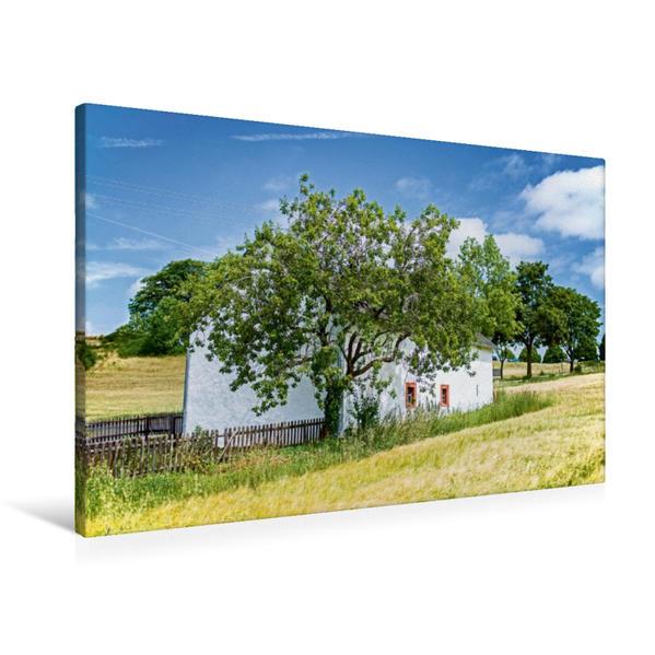 Premium Textil-Leinwand 90 cm x 60 cm quer, Kapelle am Wegesrand | Wandbild, Bild auf Keilrahmen, Fertigbild auf echter Leinwand, Leinwanddruck - Coverbild
