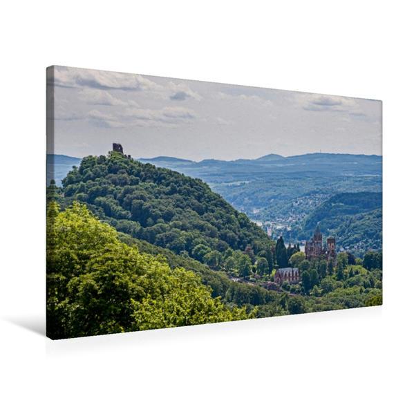 Premium Textil-Leinwand 75 cm x 50 cm quer, Blick vom Petersberg auf den Drachenfels | Wandbild, Bild auf Keilrahmen, Fertigbild auf echter Leinwand, Leinwanddruck - Coverbild