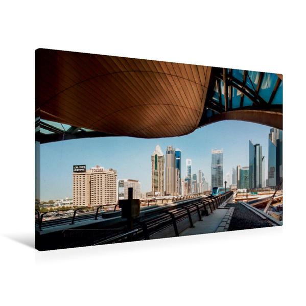 Premium Textil-Leinwand 90 cm x 60 cm quer, Metro Station Burj Khalifa/Dubai Mall | Wandbild, Bild auf Keilrahmen, Fertigbild auf echter Leinwand, Leinwanddruck - Coverbild