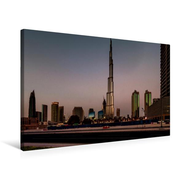 Premium Textil-Leinwand 75 cm x 50 cm quer, Burj Khalifa Skyline | Wandbild, Bild auf Keilrahmen, Fertigbild auf echter Leinwand, Leinwanddruck - Coverbild