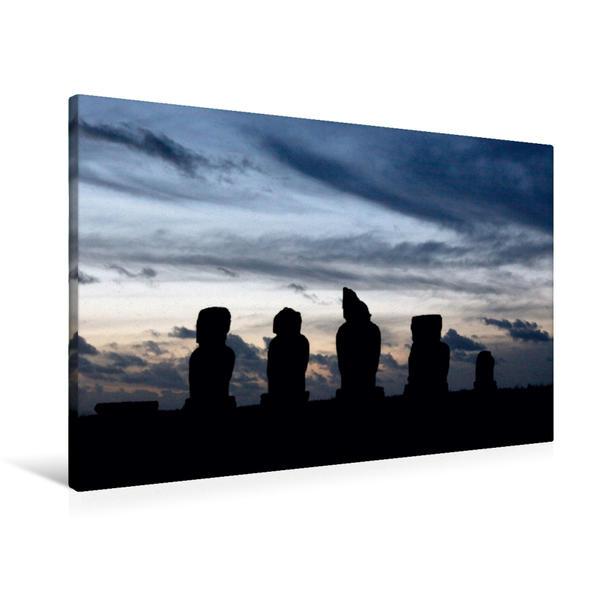 Premium Textil-Leinwand 90 cm x 60 cm quer, Moais im Abendlicht | Wandbild, Bild auf Keilrahmen, Fertigbild auf echter Leinwand, Leinwanddruck - Coverbild