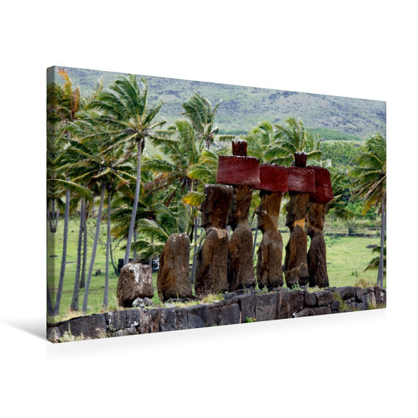 Premium Textil-Leinwand 75 cm x 50 cm quer, Moais in einer Palmenlandschaft | Wandbild, Bild auf Keilrahmen, Fertigbild auf echter Leinwand, Leinwanddruck - Coverbild